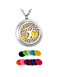 HooAMI Aromatherapy Essential Oil Diffuser Necklace Tree of Life Locket Pendant,11 Refill Pads (Love Tree)