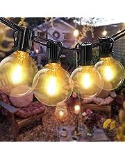 Łańcuch świetlny na zewnątrz żarówki na letnie wieczory – G40 LED z 1 żarówkami zapasowymi, łańcuch świetlny na imprezę, do ogrodu, na balkon i do wnętrz, ciepła biel 2700 K