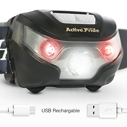 LED Headlamp - Rechargeable USB Head Torch with Adjustable Strap - Mini Lightweight Flashlight with One Bright White and Two Red Lights - Head Lantern for Dog Walking Running and Camping