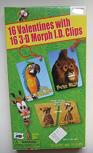 16 Valentines 3-D Morph I.D. Clips Wild Animals Parrot Tiger