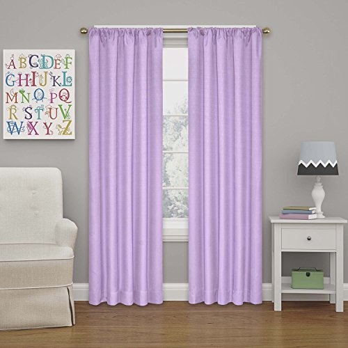 """ECLIPSE Blackout Curtains for Bedroom - Kendall 42"""" x 63"""" Insulated Darkening Single Panel Rod Pocket Window Treatment Living Room, Light Purple"""