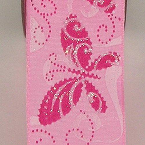 Pink Butterfly Print Taffeta Wired Craft Ribbon 1.5