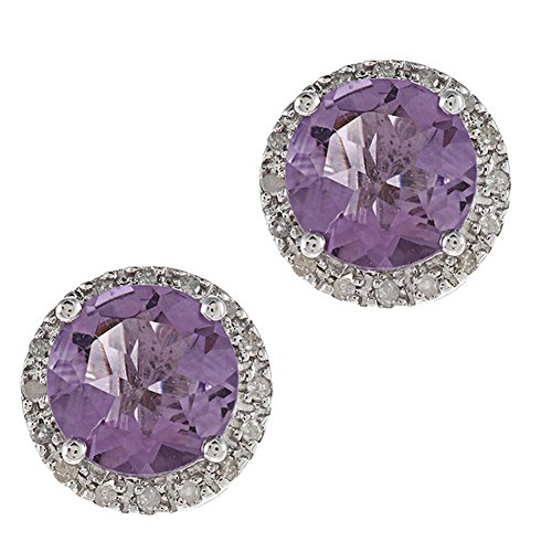10k White Gold Round Amethyst and Halo Diamond Earrings ()