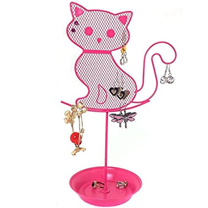 Amazoncom Cute Cat Jewelry Organizer Pink Earring Jewelry Stand