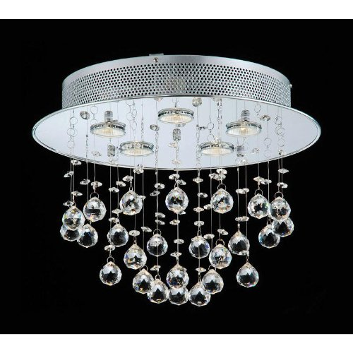 Floating Bubble Chrome and White 5-light Crystal Chandelier - Dangle Chandelier Shade