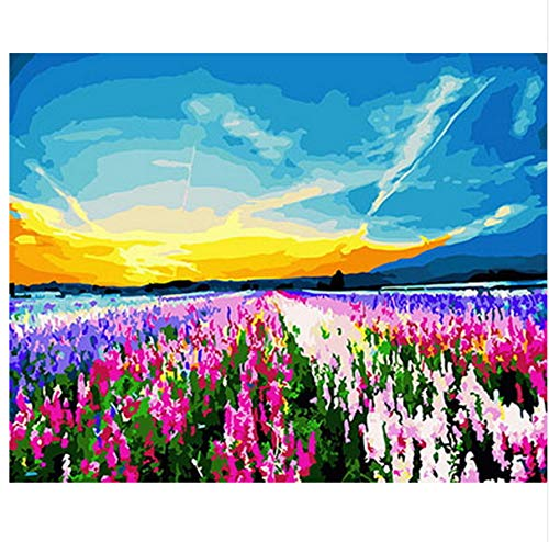 XIGZI Bild ölgemälde by Zahlen DIY wandmalerei Dekoration auf leinwand für heimtextilien Berg und Strom 40x50 cm,Mit Holzrahmen,G B07NVQD3Y4 | Einzigartig