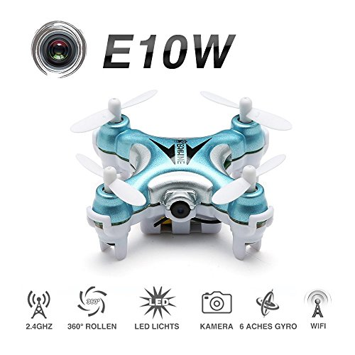 FPV Mini Quadcopter With Camera , EACHINE E10W Mini Wifi FPV Drone Live Video Selfie Pocket Drone RTF