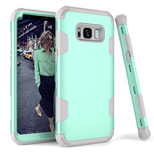 AOKER Galaxy S8 Plus Case, Hybrid Heavy Duty Shockproof [Perfect] Hard Plastic +Soft Silicon Rubber Armor Defender Impact Protection Best Protective Case for Samsung Galaxy S8 Plus (Mint Grey) (Gray Pilot Shade)