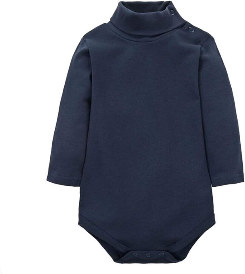 CuteOn Baby Boys Girls Solid Color Basic Turtleneck Cotton Bodysuit Jumpsuit RoyalBlue 18 Months