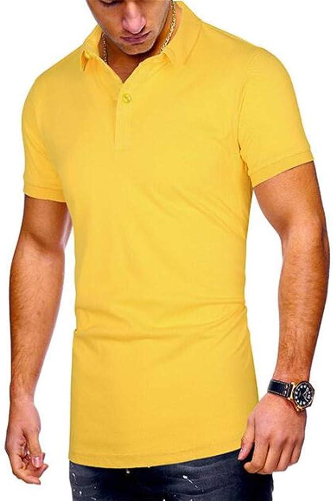 La Solapa De Los Hombres De Verano Color SóLido Suelta Casual De Negocios De Manga Corta Camiseta Polo Camisa: Amazon.es: Ropa y accesorios