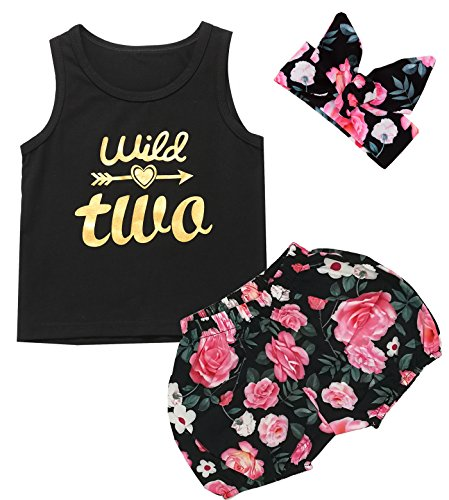 3PCS Outfit Short Set Toddler Girls Floral Vest + Pants + Headband (2T, Wild Two)