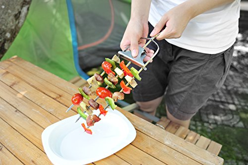 Kabobs Grilling Chicken (BBQ Skewers Lock & Slide Stainless Steel (Set of 2) Makes 6 Kebabs, Grill Kebab Gadget, Best Skewer for Outdoor Grilling with Quick and Easy Release for Any Type of Shish Kebab Chicken or Vegetables)