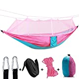 YANXH Double Camping Hammock with Mosquito Net, Lightweight Portable Parachute Hammocks for Camping, Backpacking, Survival, Travel and More,Pink