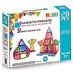 TinyCuddle STEM 3D (Large Size) Premium Magnetic Paradise Building Blocks Magna Tiles Learning & Educational Puzzles for Early Learning (28 Pcs)
