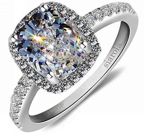 Elegant 18k white Gold Plated Austria Crystal Square Zircon Wedding Engagement Ring As Gift R24 (brass-plated-gold, 5.5)