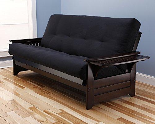 Kodaik Queen Size Phoenix Espresso Frame w/7 Inch Mattress Microfiber Suede Futon Set Wood Sofa Beds (Black Matt, Frame Only (Queen Size)) - Bedroom Queen Size Futon Frame