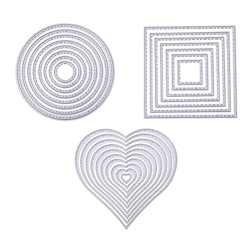 Pandahall Elite 25 PCS Carbon Steel Cutting Dies Heart Square Round Stencils for DIY Scrapbooking Photo Album Decorative DIY Paper Cards Making Gift Debossing Border