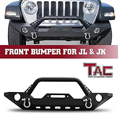 TAC Front Bumper Fit 2018-2021 Jeep Wrangler JL / 2020-2021 Jeep Gladiator / 2007-2018 Jeep Wrangler JK SUV Black Textured Heavy Duty with OE Fog Light Hole D-Ring Winch Mount Plate Rock Crawler