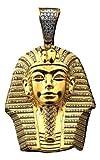 10k Yellow Gold King Tut Egyptian Pharaoh Head Charm Pendent (2.72' x 1.58')