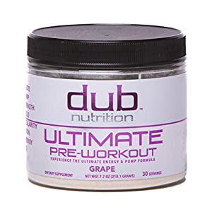 Ultimate Pre Workout |By dub Nutrition Supplements| (Grape) Top Rated Energy Pump Formula, Dye Free, 0 Carbs, Muscle Builder, Nitric Oxide Boost, Beta Alanine, Glucuronolactone, Creatine, BCAA