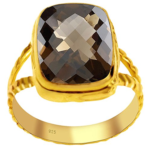 Orchid Jewelry Genuine Smoky Quartz 14k Gold Overlay 925 Sterling Silver Ring for Women and Girls, Fashion Ring, Perfect for Engagement, Anniversary, Wedding, Box (4.95 Cttw, 14x10 MM Cushion)