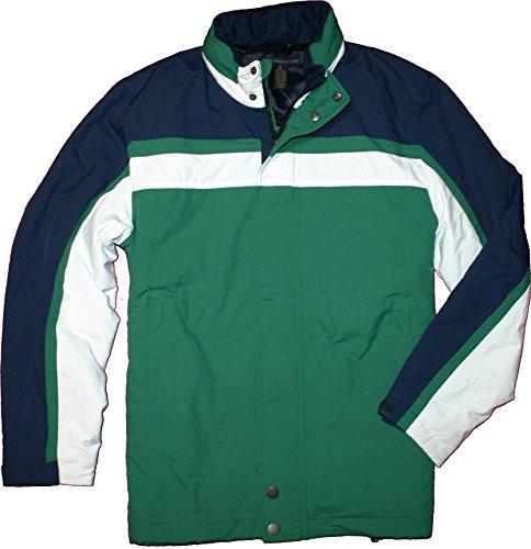 Brooks Brothers 346 Primaloft Insulated Tuck Away Hood Colorblock Full Zip Coat (Large, Green)