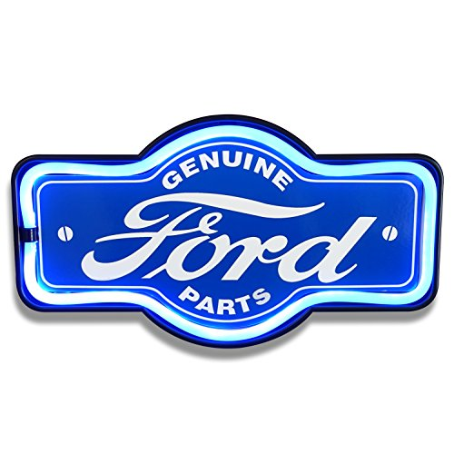 Genuine Ford Parts - Reproduction Vintage Advertising Marquee Sign - Battery Powered LED Neon Style Light - 17 x 10 x 3 Inches