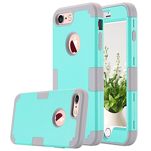 iPhone 7 Case, AOKER Shockproof Hybrid Heavy Duty High Impact Hard Plastic+Soft Silicon Rubber Armor Defender Case Cover for Apple iPhone 7 4.7 Inch (2016) (Mint+Grey)