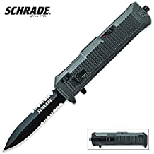 Schrade SCHOTF8B OTF Assist, Finger Actuator, Black Spear Point Blade AUS-8 Steel, No Ship CA, NY, MA, Box Packaging