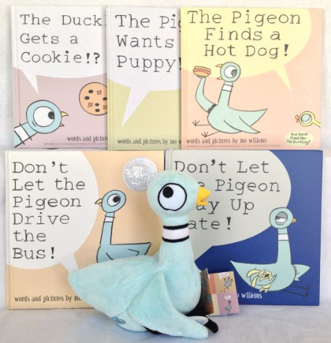 Mo Willems Pigeon Five Book Gift Bundle with Plush Doll Complete Series Box Set (Don't Let the Pigeon Drive the Bus! / Pigeon Finds a Hot Dog! / Don't Let the Pigeon Stay up Late! / Pigeon Wants a Puppy! / Duckling Gets a Cookie?!) (The Pigeon Wants A Hot Dog compare prices)