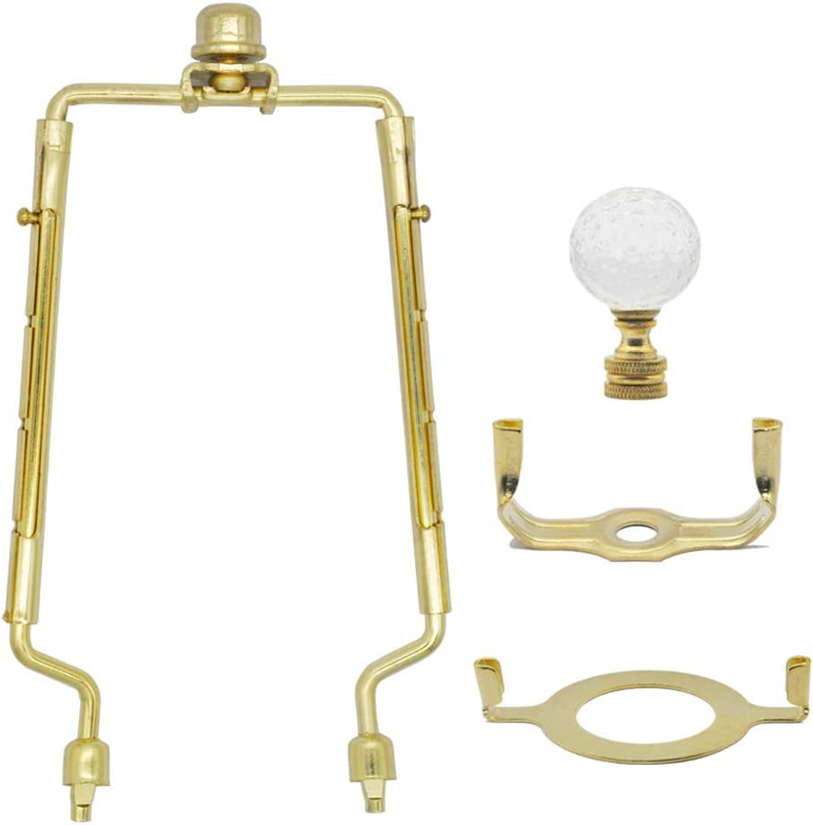 7 8 9 10 inch Lamp Shade Harp Holder,Adjustable Gold Lamp Harp Fits both E26 Light Base UNO Fitter Adapter and Saddle Base,Brass Color UNO Fitter Adapter Finial Set