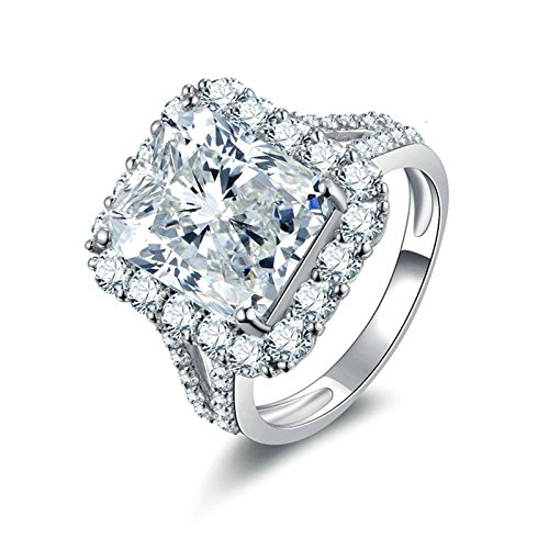 AnaZoz Women Wedding Rings S925 Sterling Silver 9MM White Cubic Zirconia Diamond(Lab Created) Engagement Rings For Women Solitare Size 9.5 - Avon Diamond Bands