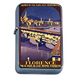 Silver Flip Top Oil Lighter Vintage Poster D-060 Florence Par Le Train De Luxe Rome Expre Paris Lyon
