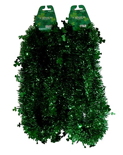 St Patrick's 2 Green Tinsel 9-Ft Garlands with GREEN Shamrocks, Total 18 Ft 18' Cut Out Decoration