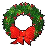 Northlight Lighted Holographic Berry Wreath Christmas Window Silhouette Decoration, 11''