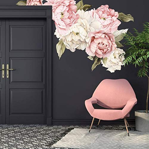 Floral Wall Decals - Murwall Floral Peonies Wall Decal, Peony Bouquet Flowers Removable Peel and Stick Wall Sticker