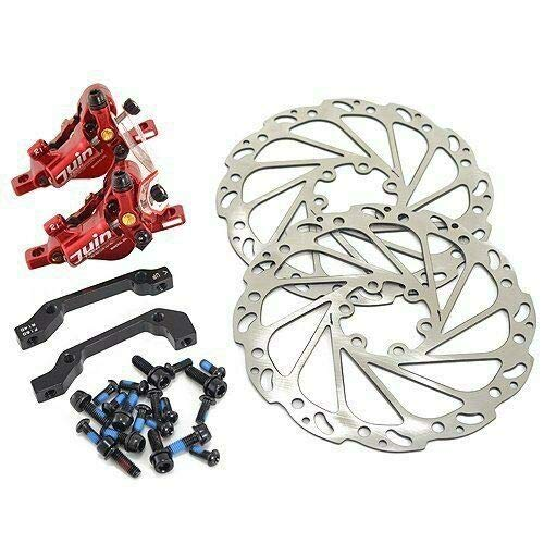 JUIN TECH R1 Hydraulic Road CX Disc Brake Set 160mm w/Rotor (Front+Rear),Red #ST1676