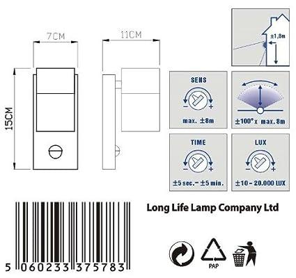 Long Life Lamp Company Negro Sensor de Movimiento Acero Inoxidable lámpara de Pared para Exteriores con Sensor de Movimiento IP44 up/Down lámpara de Pared ...