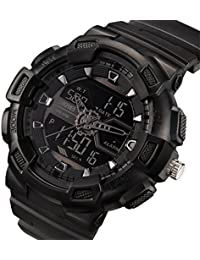 Mens Military Sport Watch Fashion Men Watch LED Display Water Resistant Black