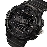 Misskt Mens Military Sport Watch Fashion Men Watch LED Display Water Resistant Black