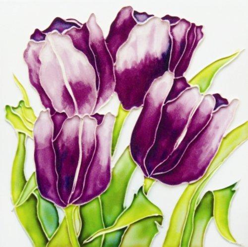 """Purple Tulips - Decorative Ceramic Art Tile - 8""""x8"""" En Vogue"""