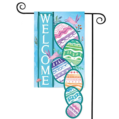 AVOIN Easter Egg Welcome Home Bunny Flower Double Sided Applique Garden Flag | 12.5 x 18 Inch Decorative Spring Summer House Flag for Outdoor Frontdoor Yard Party