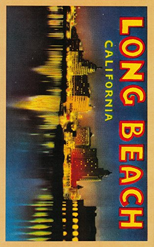 Greetings from Long Beach, California - Vintage Halftone (12x18 SIGNED Print Master Art Print w/ Certificate of Authenticity - Wall Decor Travel Poster)