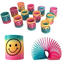 Gifts 4 All Occasions Limited SHATCHI-88 12 Mini Rainbow Smiley Face Springs Slinky Pinata Party Loot Bag Fillers Toy, Multi