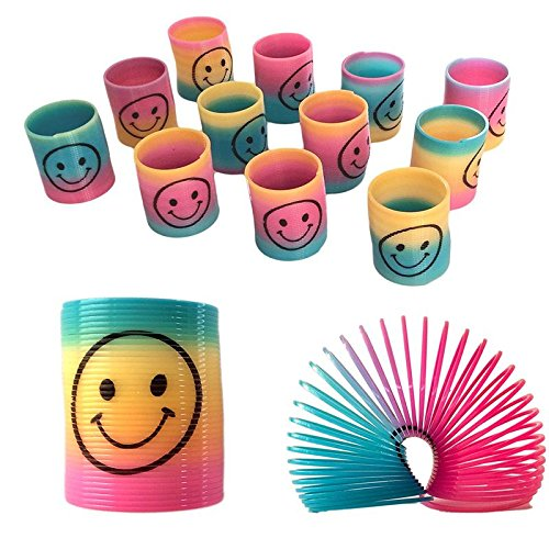 (Shatchi 12 Mini Rainbow Smiley Face Springs Slinky Pinata Party Loot Bag Fillers Toy)