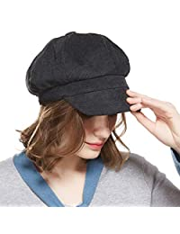 WELROG Corduroy Newsboy Hat Women Adjustable Octagonal Cap Visor Fall Beret Cap