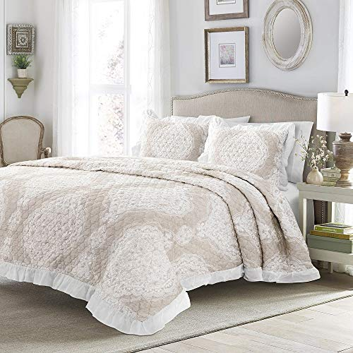 3 Piece Full Queen All Season French Country Ruffle Edge Cotton Bedspread Quilt Set, Casual Damask Floral Pattern Reversible Incredibly Soft Quilt Set, Elegant Colorful Taupe Brown Quilt Bedspread Set
