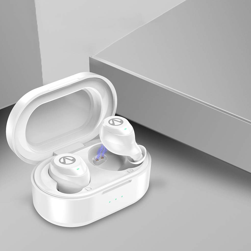 Waterproof Twins Mini Wireless Sport Earbuds, Bluetooth In-ear Stereo Earphones With 500mAh Capacity Charging Box (White) by YNAA (Image #1)