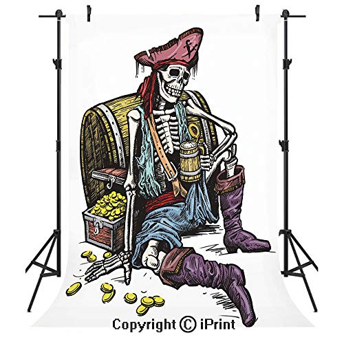 Pirate Photography Backdrops,Skeleton Pirate Holding Mug of Beer Treasure Chest Gold Freebooter Sailor Corsair Decorative,Birthday Party Seamless Photo Studio Booth Background Banner 10x20ft,Multicolo