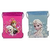 New Disney Frozen Queen Elsa Drawstring String Backpack School Sport Gym Tote Bag!- Set of 2 Bags (Pink + Baby Blue)
